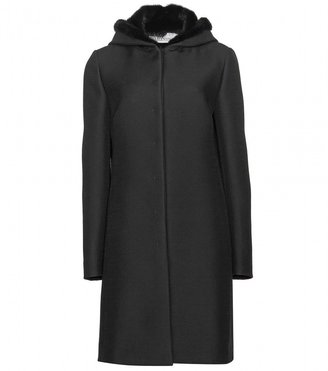 Valentino WOOL COAT WITH FUR-LINED HOOD