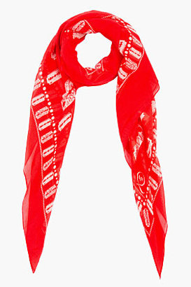 McQ by Alexander McQueen Red and beige Razor Blade print Scarf