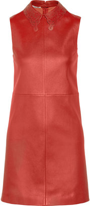 Miu Miu Cutout-collar stretch-leather dress