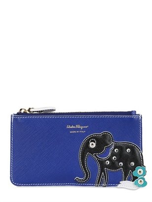 Salvatore Ferragamo Elephant Saffiano Leather Pouch