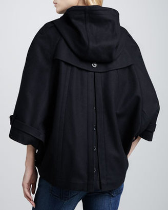 Burberry Hooded Wool Cape, Navy
