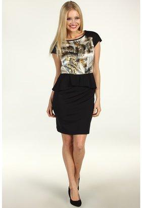 Suzi Chin for Maggy Boutique - Charmeuse Print Bodice Peplum Dress (Maple Multi) - Apparel