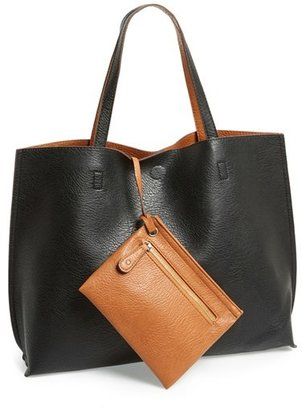 Street Level Reversible Faux Leather Tote & Wristlet - Black $48 thestylecure.com