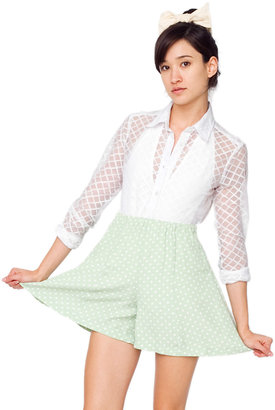 American Apparel Stretch Lace Diamond Grid Long Sleeve Button-Up