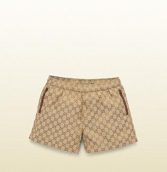 Gucci beige/ebony GG jacquard waterproof nylon swimwear