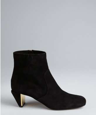 Fendi Black Suede Angular Heel Ankle Boots