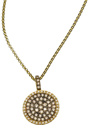 KC Designs Gold and Champagne Diamond Circle Pendant Necklace
