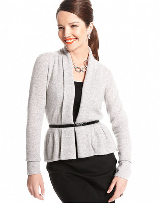 Charter Club Sweater, Long-Sleeve Peplum Cashmere Cardigan