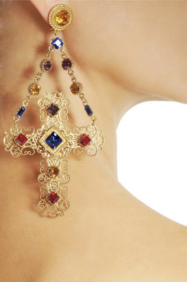 Dolce & Gabbana Gemme gold-plated Swarovski crystal cross clip earrings