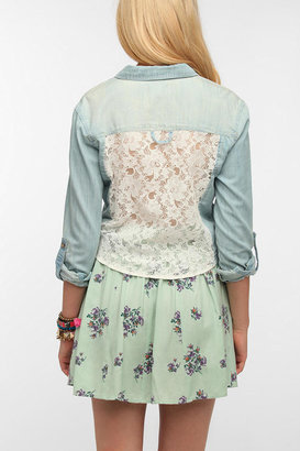 Urban Outfitters Pins And Needles Lace-Back Chambray Shirt