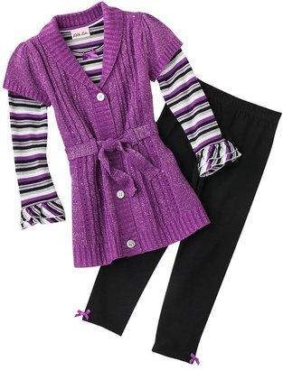 Little Lass knit cardigan set - girls 4-6x