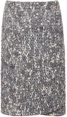 Calvin Klein Collection Grey And Ivory Snakeskin Linked Wrap Skirt