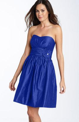 Eliza J Rosette Detail Strapless Taffeta Dress