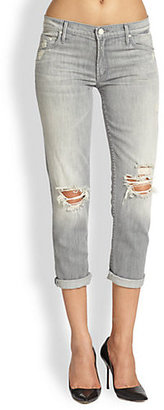 Mother The Dropout Distresed Cropped Skinny Jeans