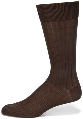 Saks Fifth Avenue Made In Italy Ribbed Cotton Dress Socks