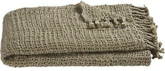 Crate & Barrel Open Weave Taupe Throw