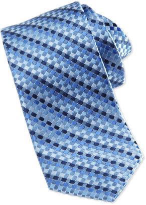 Neiman Marcus Float Woven Skinny Silk Tie, Medium Blue
