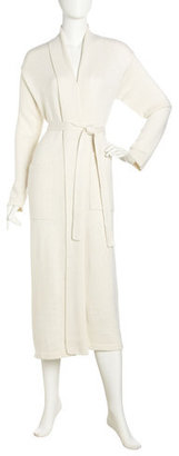 Neiman Marcus Cashmere-blend Knit Robe, Ivory