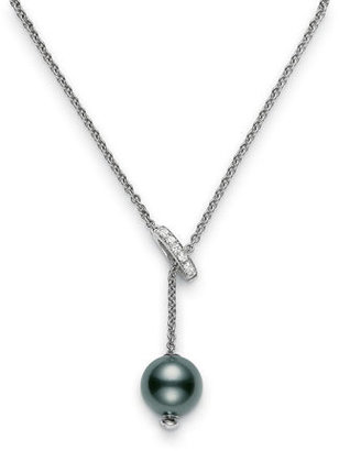 Women's Mikimoto 'Pearls In Motion' Black South Sea Cultured Pearl & Diamond Necklace $2,600 thestylecure.com