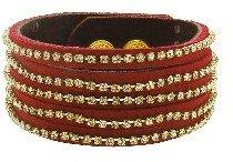 Presh Wide Topaz Crystal Bracelet - Cranberry Leather