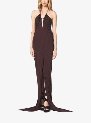 Michael Kors Crepe-Jersey Draped Halter Dress