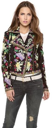 Marchesa Voyage Embroidered Motorcycle Jacket