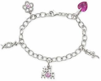 FINE JEWELRY Pink Sapphire & Diamond-Accent Mom Charm Bracelet