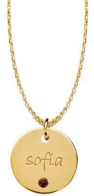 Lrg Posh Mommy 18K Gold-Pltd Disc SimBirthstonePendant, Chain