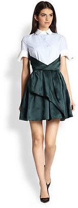 Carven Cotton Shirt & Silk Skirt Combo Dress
