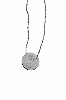 Jennifer Zeuner Jewelry Swirly Initial Engraved Medal Necklace in Silver