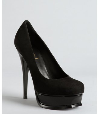 Yves Saint Laurent black suede and patent leather platform pumps