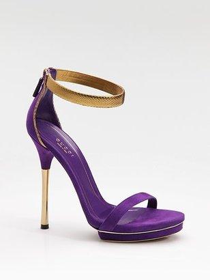 Gucci Kelis Suede & Python Ankle-Strap Platform Sandals