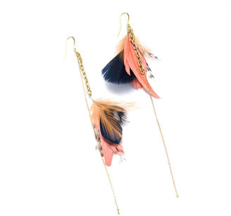 Noémiah Navy and Coral Gold Dangle Earrings