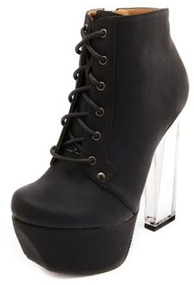 Charlotte Russe Clear Heel Lace-Up Bootie