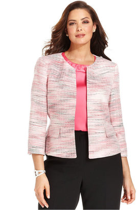 Kasper Plus Size Jacket, Three-Quarter-Sleeve Tweed