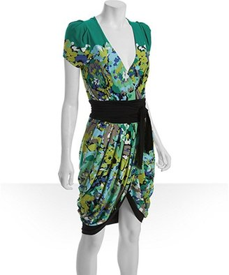 BCBGMAXAZRIA emerald jersey floral print tulip dress