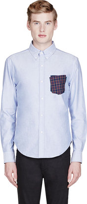 Band Of Outsiders Blue Chambray Layered-Pocket Shirt