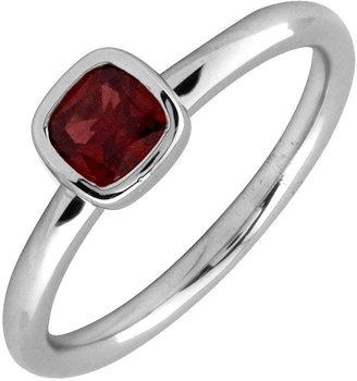 Simply Stacks Sterling & Cushion Cut Garnet Ring