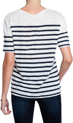 Current/Elliott The Short Sleeve Striped Linen Tee