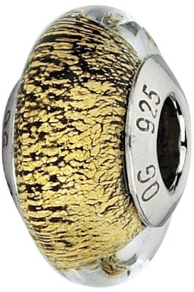 Murano Prerogatives Gold with Black Specks Italian Glass Bead
