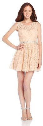 My Michelle Sequin Hearts by Juniors Lace Overlay Dress with Jewel Waist