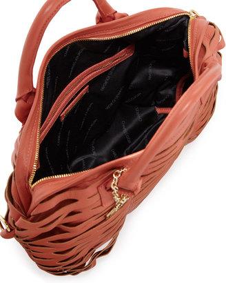 Charles Jourdan Beverly Open Lattice Leather Satchel Bag, Coral