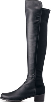 Stuart Weitzman Reserve Wide Leather Stretch-Back Over-the-Knee Boot, Navy