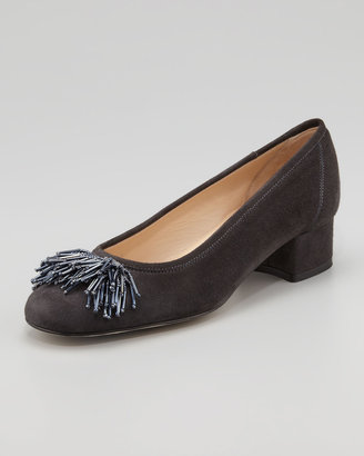 Sesto Meucci Flynn Beaded Pompom Low-Heel Pump