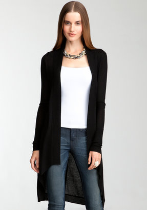 Bebe Rib Trimmed Long Cover Up Sweater