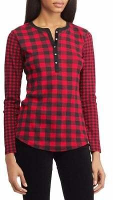 Chaps Checked Cotton Long-Sleeve Tee