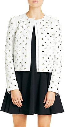 Diane von Furstenberg Kate Studded Leather Jacket In Chalk