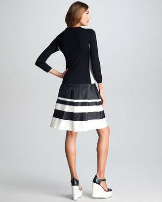 Jil Sander Navy Striped Border Silk Skirt