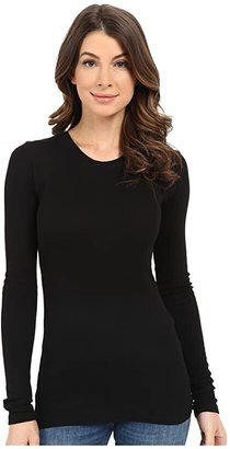 LAmade Long Sleeve Crewneck Thermal Top (Black) Women's Long Sleeve Pullover
