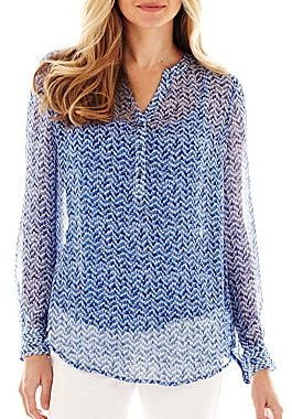 Liz Claiborne Long-Sleeve Woven Henley Top with Cami